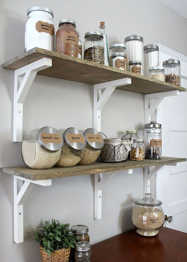 Ideas para organizar las repisas abiertas en la cocina for Repisas rusticas para cocina