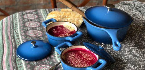 Receta: Sopa de betarraga con queso de cabra por Brann Cookware